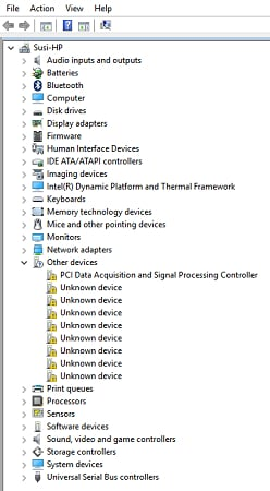 Device Manager opens & look for hardware with a yellow exclamation mark