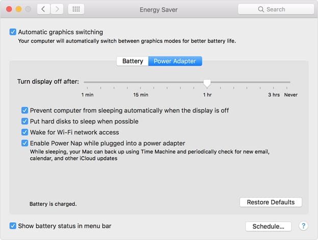 Energy Saver and checkmark automatic graphics switching