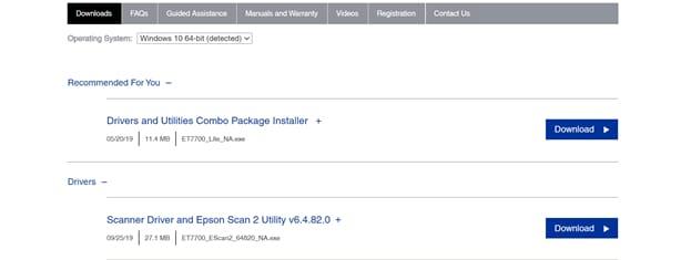 download Epson printer drivers
