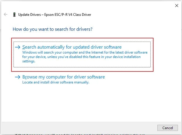 Search automatically for updated driver software for epson printer driver
