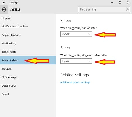 power & sleep - never turn off screen