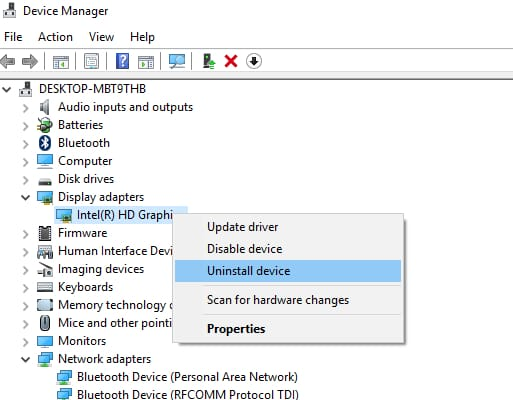 right-click on the graphics driver and choose the Uninstall device