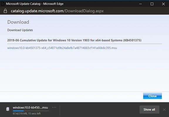 download begin Windows 10 version 1903
