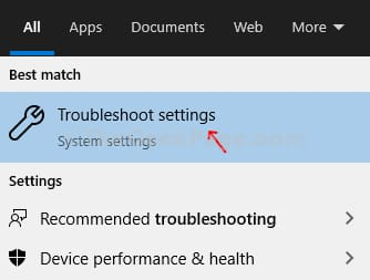 troubleshoot setting from Windows search box