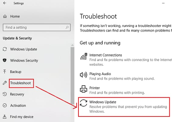 troubleshoot windows update