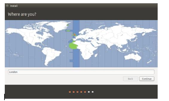 choose location for ubuntu OS