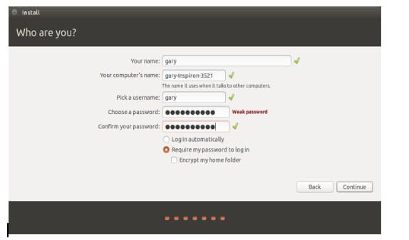 enter username, computer name, password to continue
