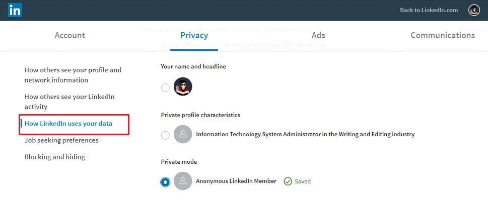 view a LinkedIn profile as anonymous-3