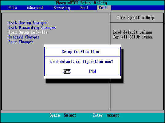 bios load default configuration
