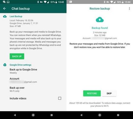 whatsapp Restore option