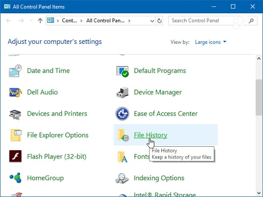 choose File History from control panel