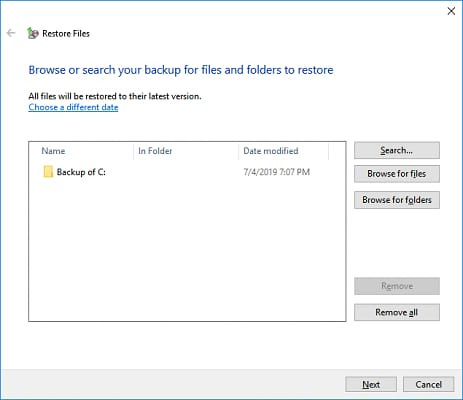 Choose the location to recover files