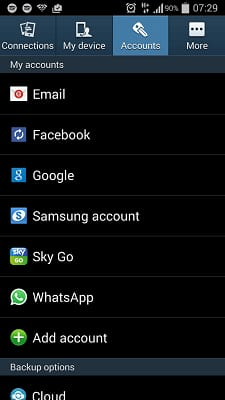 phone Settings and select Account