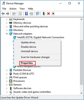 right click on network adapter then choose properties