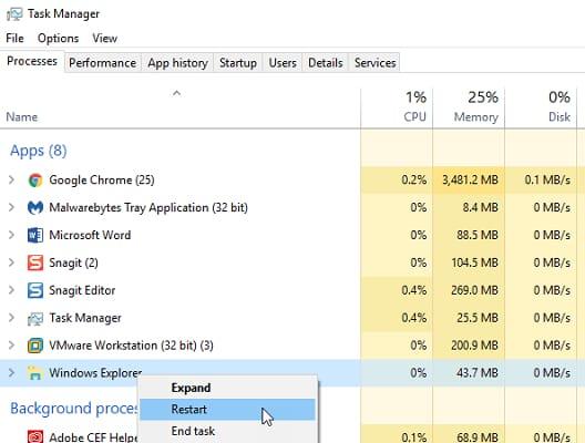 restart windows explorer from task manager