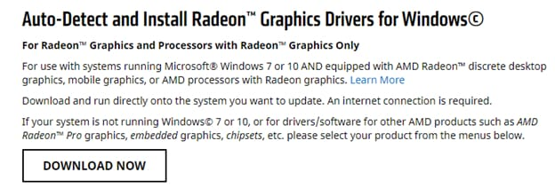 auto detects the AMD driver on Windows