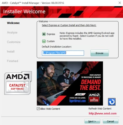 choose the installation location for amd driver