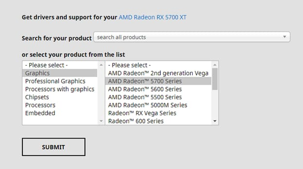 get drivers and support for your AMD device