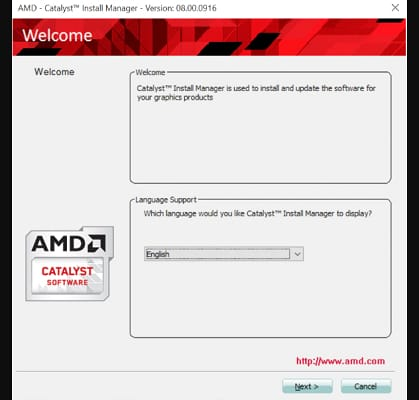 select language support for AMD driver