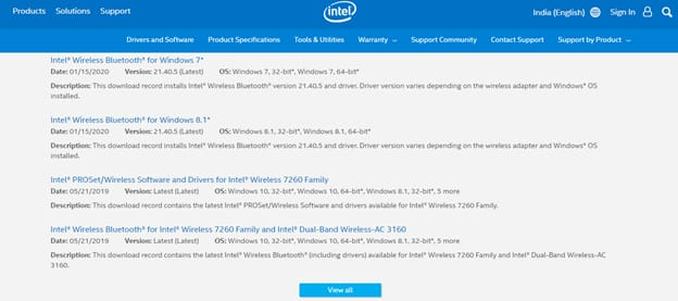 find bluetooth driver on intel offical site
