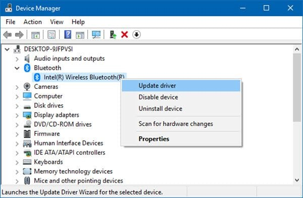 update wireless bluetooth driver