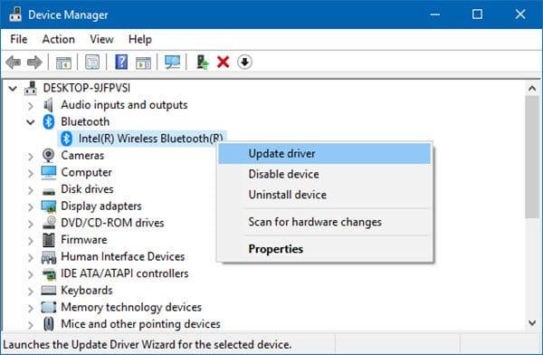update wireless bluetooth driver