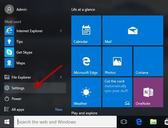 click on setting from start menu