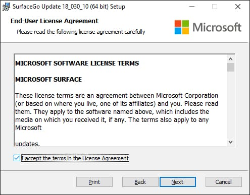 I accept the terms in the license agreement for microsoft surfaceGo