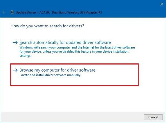 Browse my computer for driver software for usb adapter