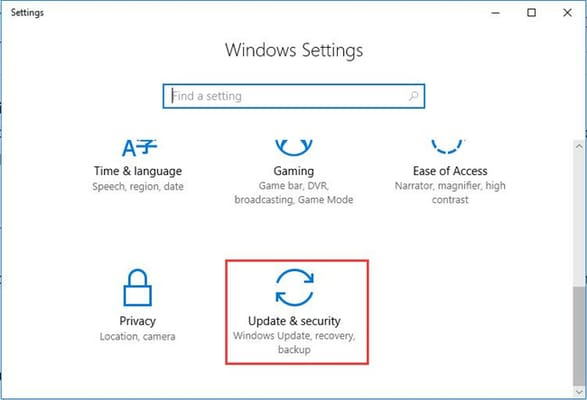 update & security from windows setting