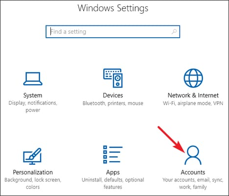 account option from windows settings