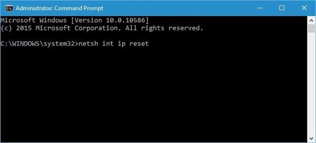 netsh int ip reset from command prompt