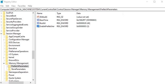 EnablePrefetcher registry key