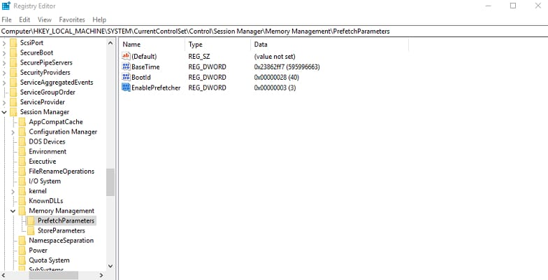 PrefetchParameters directory in registry