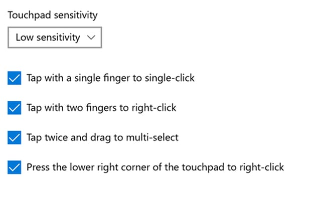 touchpad sensitivity