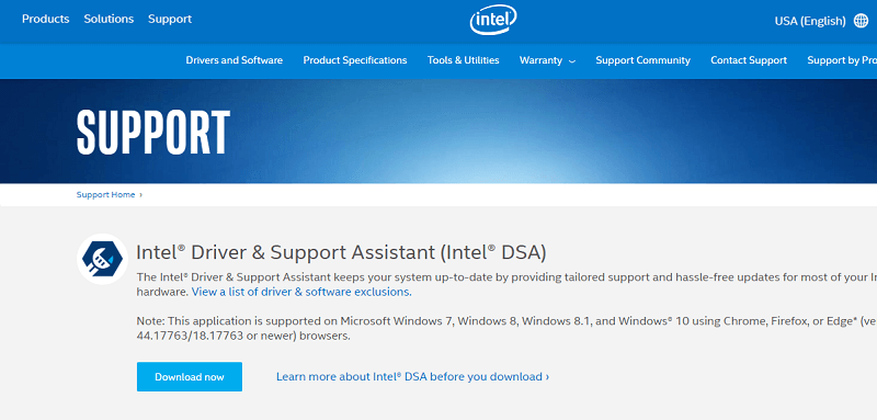 Download Drivers through Intel Driver & Support Assistant