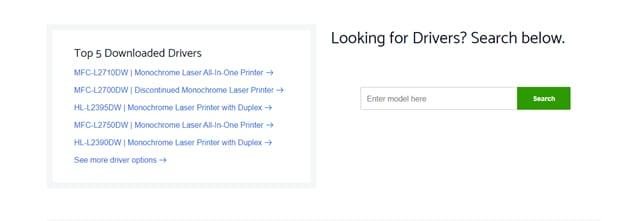 model details to download Brother printer driver