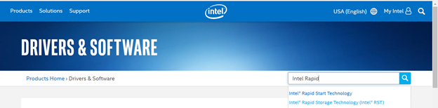 search for intel rapid from intel official site
