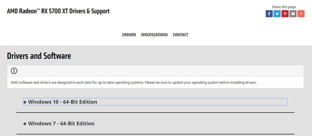 AMD radeon RX 5700 XT drivers & support