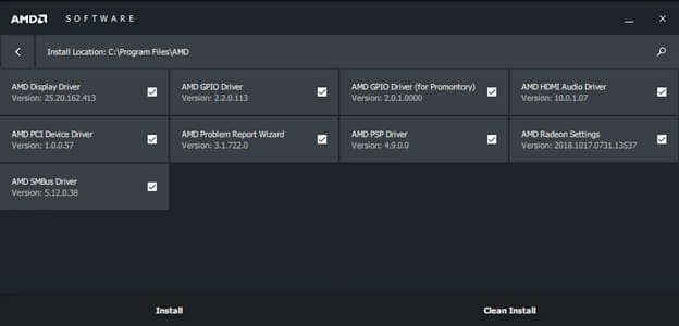 select the installation location and required files of AMD driver
