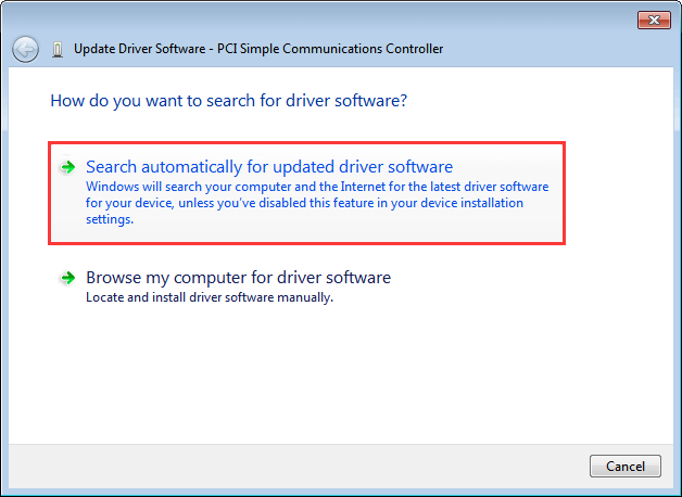 Try PCI Simple Communications Controller driver download via Device Manager-1