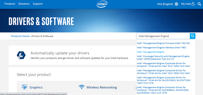 Update the Intel Management Engine drivers