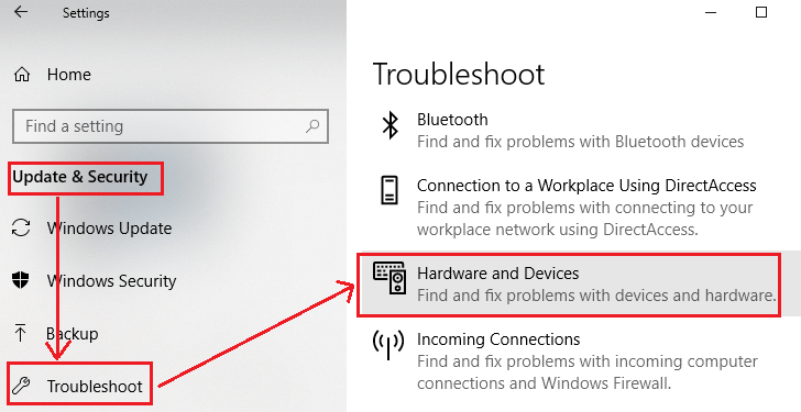 Run the troubleshooter for hardware and devices