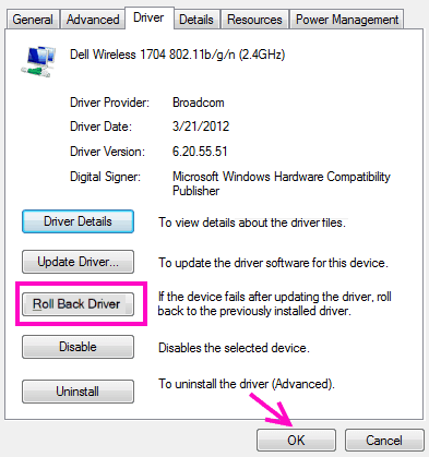 Roll back the network updater driver-1