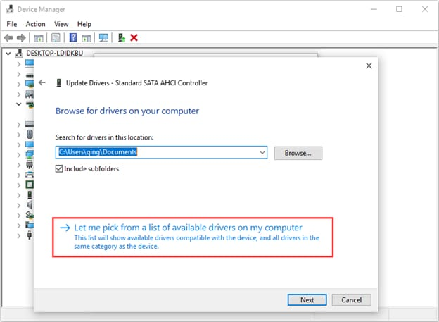 Let me pick from a list of device drivers on my computer for SATA AHCI Controller