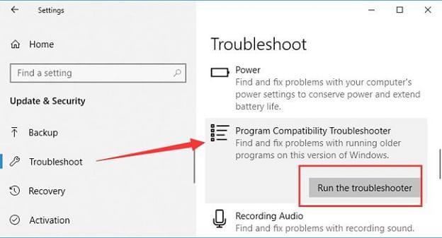 Program Compatibility Troubleshooter