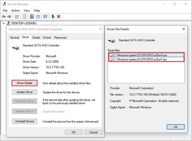 SATA AHCI Controller driver details