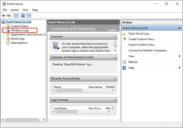 Windows Logs in Event Viewer