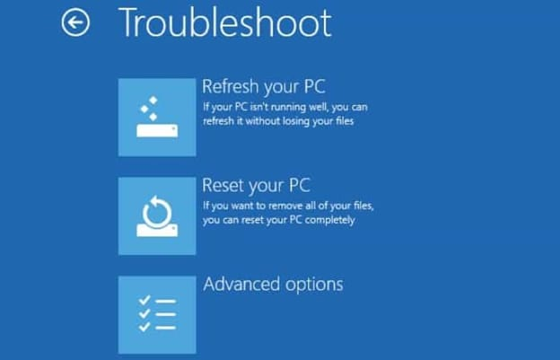 troubleshoot options