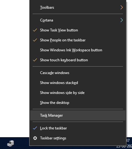 right click on start menu and choose task manager